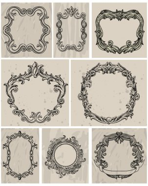 Set of vintage frames and design elements