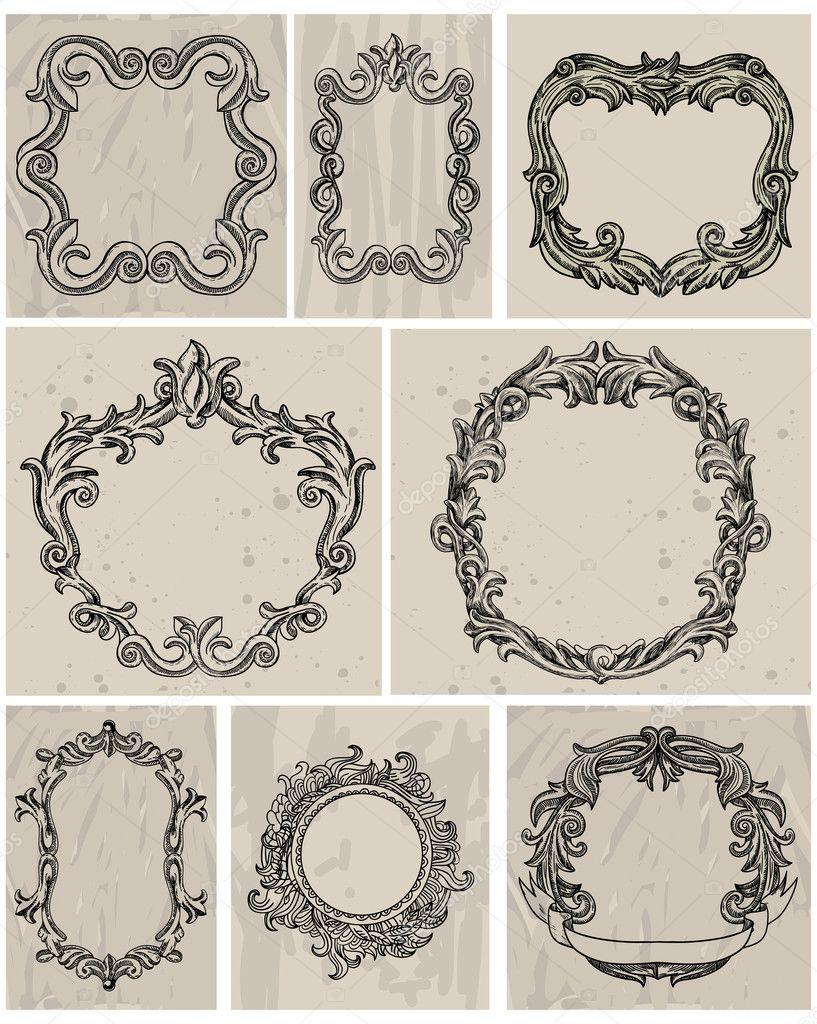 Set of vintage frames and design elements