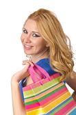 atraktivní dívka s nákupní tašky