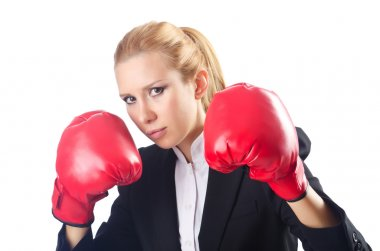 Woman boxer isolated on white