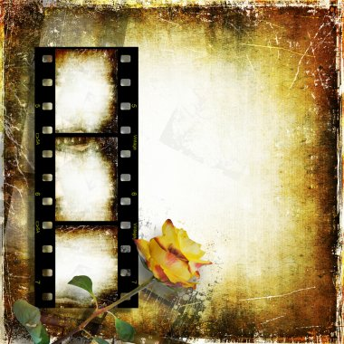 Vintage background with film strip and roses