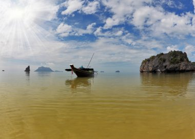 The Thai Longtail boat. Bay on oceanic islands