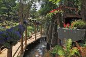 bambus cesta mezi fontánou a květinové lůžek