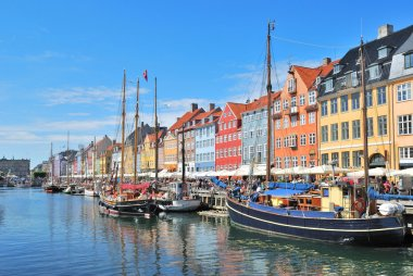 One of the most beautiful and romantic places in Copenhagen - Nyhavn Harbor stock vector