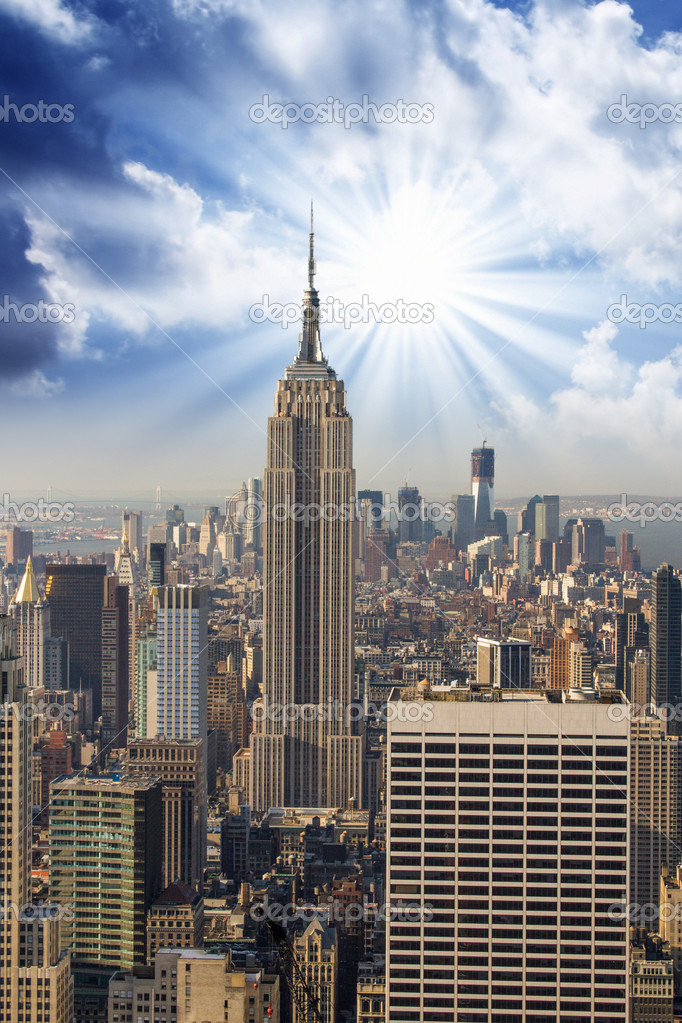 Manhattan Skyline with Empire State and Tall Skyscrapers
