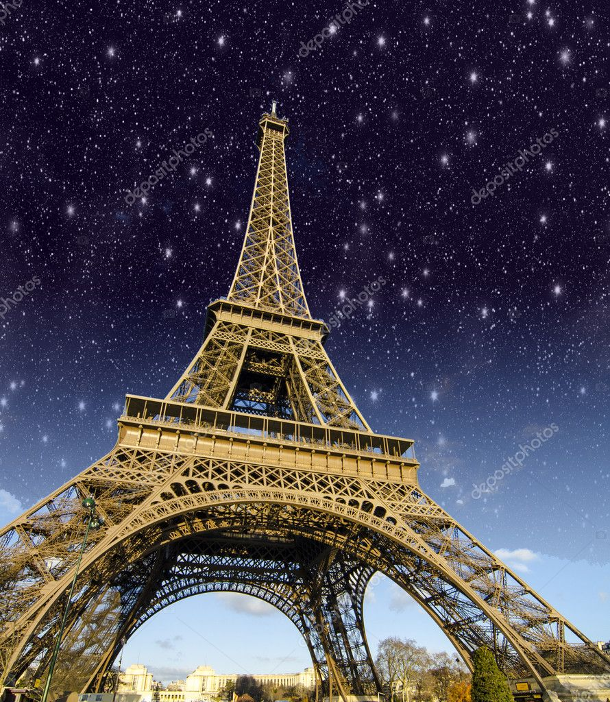 Stars and Night Sky above Eiffel Tower in Paris