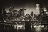 Fotografie Manhattan, new york city - černobílý pohled na vysokých skyscrap