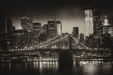 Manhattan, New York City - Black and White view of Tall Skyscrap