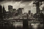 Manhattan, new york city - černobílý pohled na vysokých skyscrap