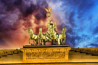 Majesty of Quadriga over Brandenburg Gate, with dramatic Sky