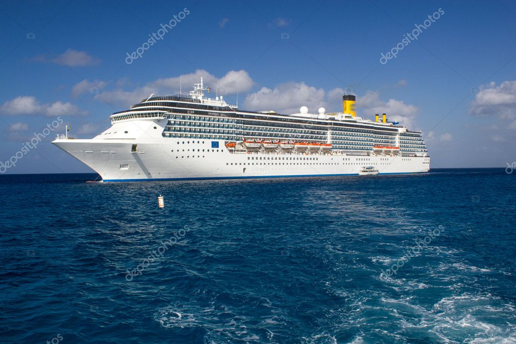 Cruise Ship Anchored in The Caribbean