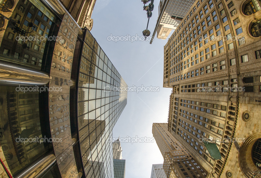 Upward fisheye view of manhattan tall skyscrapers new for Nys fishing license prices