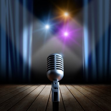 Stage with blue curtain and retro microphone stock vector