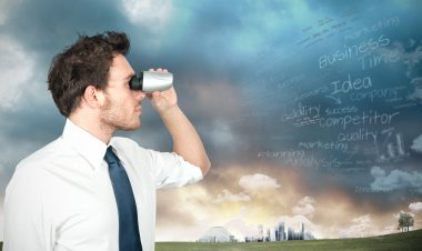 Businessman with binoculars looking for new business stock vector