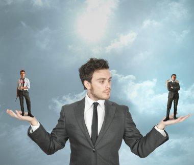 Businessman must choose between the devil or angel stock vector