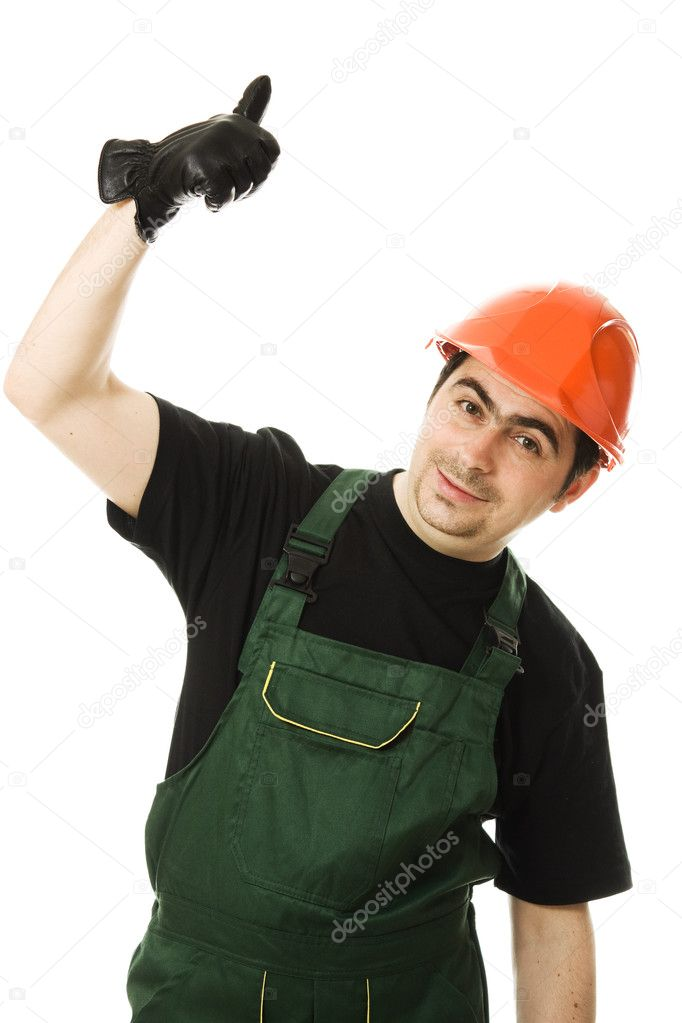 Businessman in helmet pointing up.