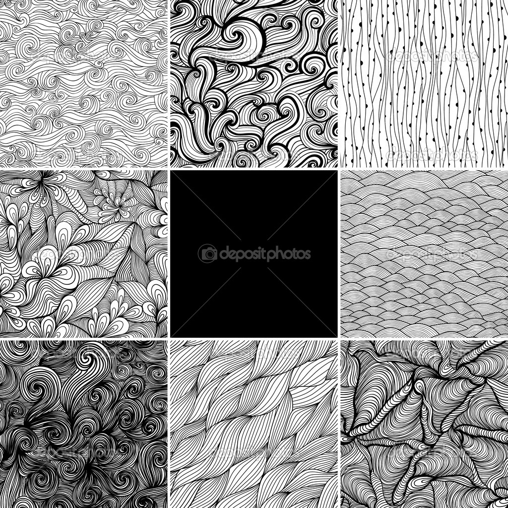 Set of eight black and white wave patterns (seamlessly tiling).Seamless pattern can be used for wallpaper, pattern fills, web page background,surface textures. Gorgeous seamless wave background