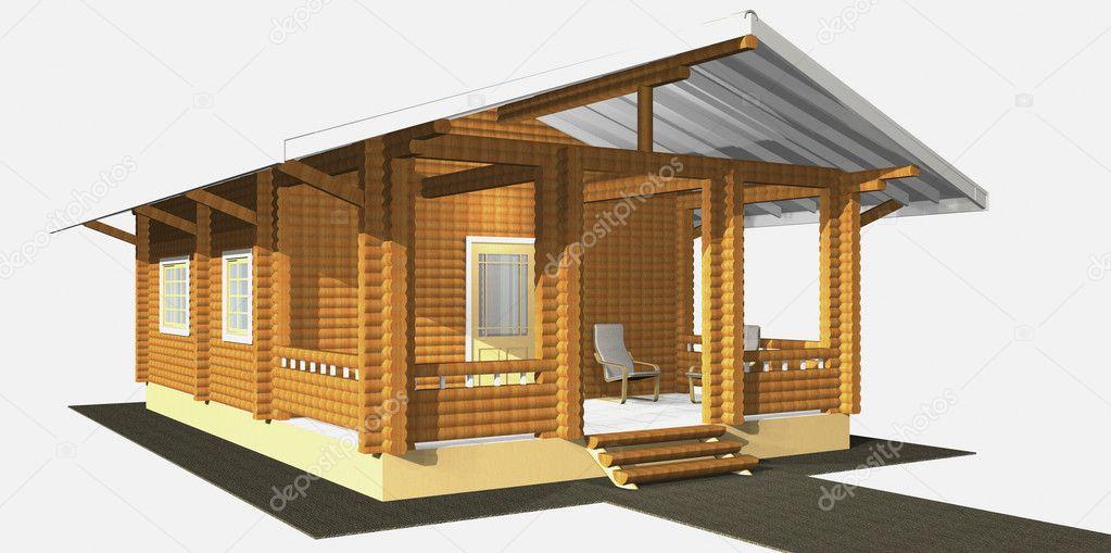 House of wooden timber  3d model render  Isolation on white back
