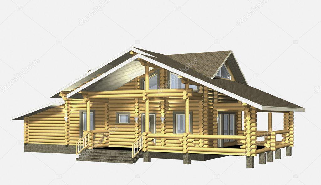 Huis van houten hout 3d model maken isolatie op witte achtergrond stockfoto chernookaya for Hout huis