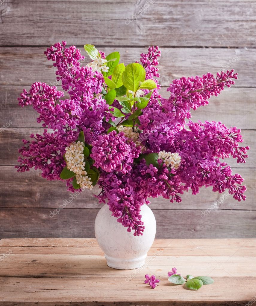 Still life with a blooming branch of lilac