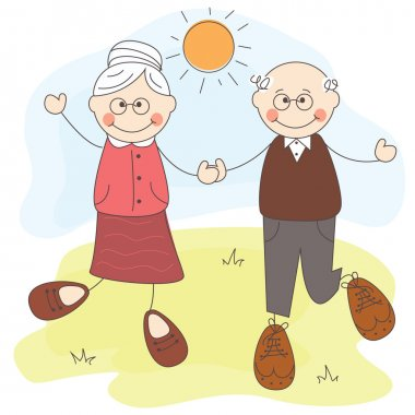 Happy cute grandparents together