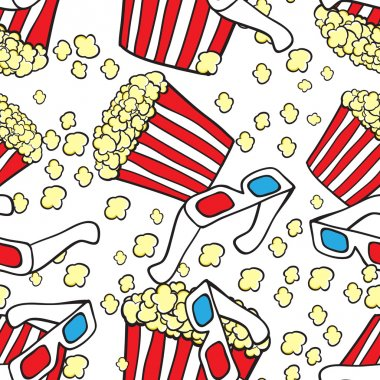 Vector seamless pattern with cinema symbols. Popcorn and 3d glasses