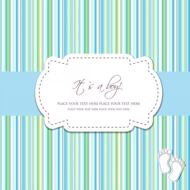 Baby boy arrival card with two foot steps on polka dot background