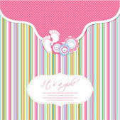 Photo Baby girl shower card with foot steps and frame for your text