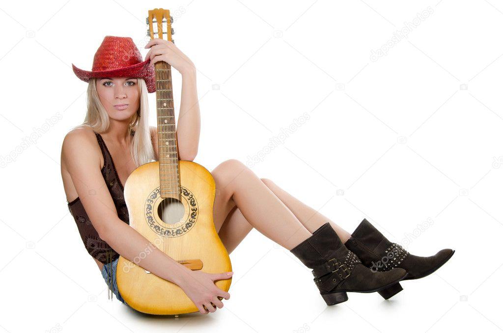 Мобильное ковбой с гитарой телка