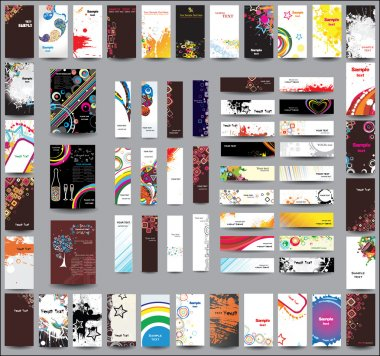 A set of flyers , banners and labels
