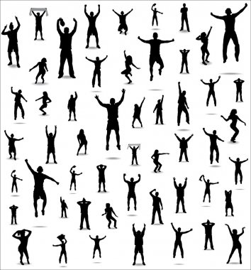 Set of poses from fans for sports championships