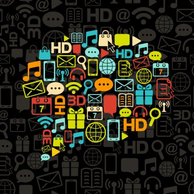 Vector communication bubble made from colorful icons on black