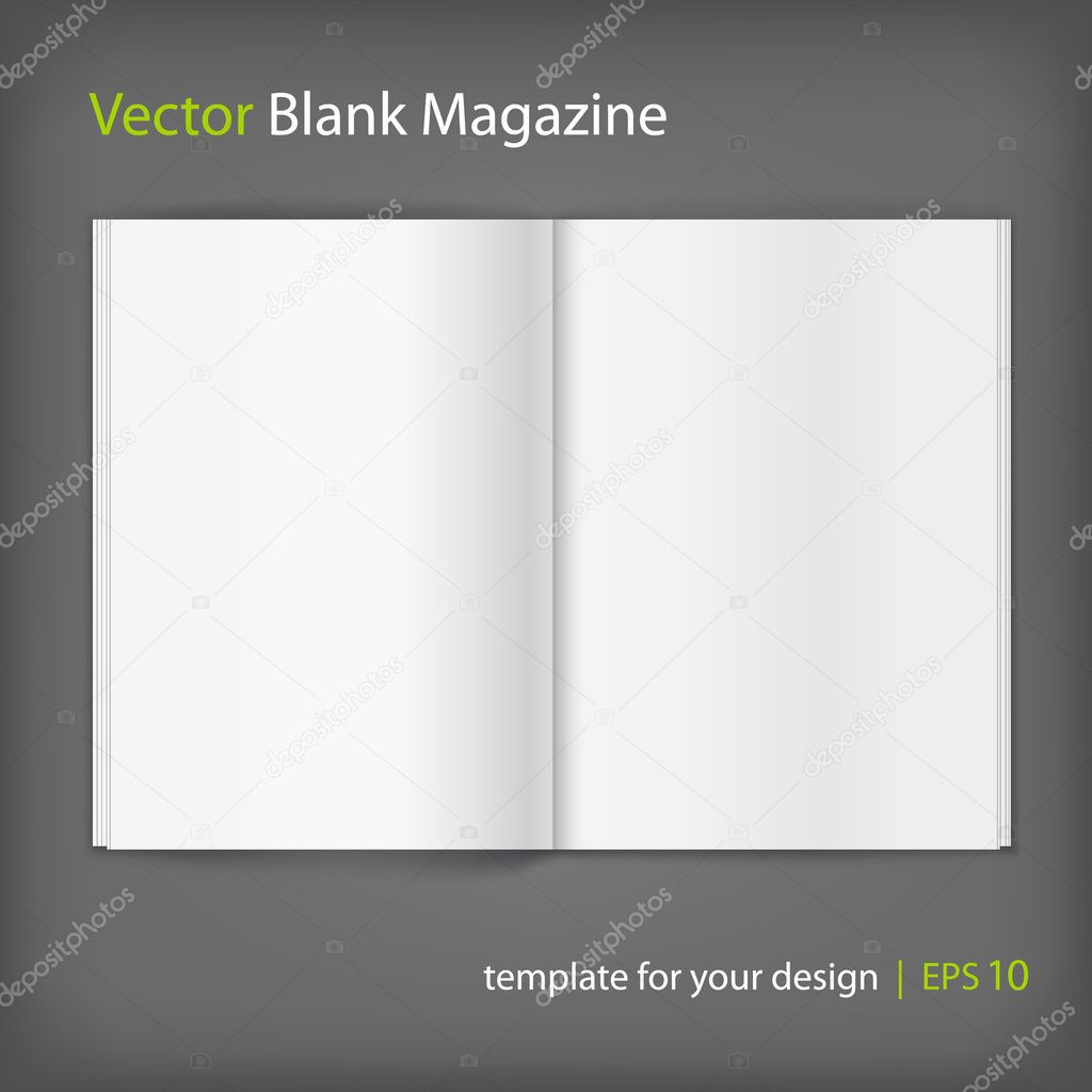 Blank magazine on grey background. Template
