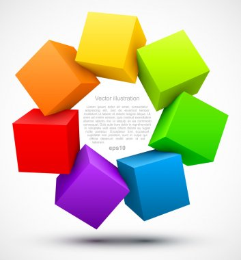 Colored cubes 3D. Vector illustration stock vector
