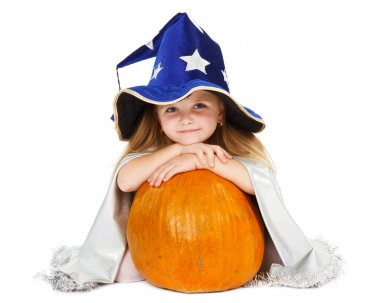 Girl in blue witch's hat with silver stars and pumpkin