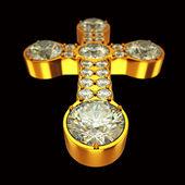 Schmuck: Goldenes Kreuz mit Diamanten über Schwarz