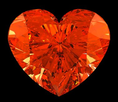 Red heart cut shape diamond over black