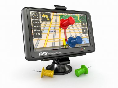 GPS. Global positioning system and thumbtacks