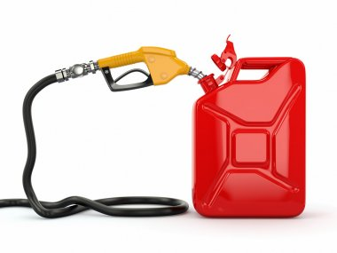 Gas pump nozzle and jerrycan on white background. 3d stock vector