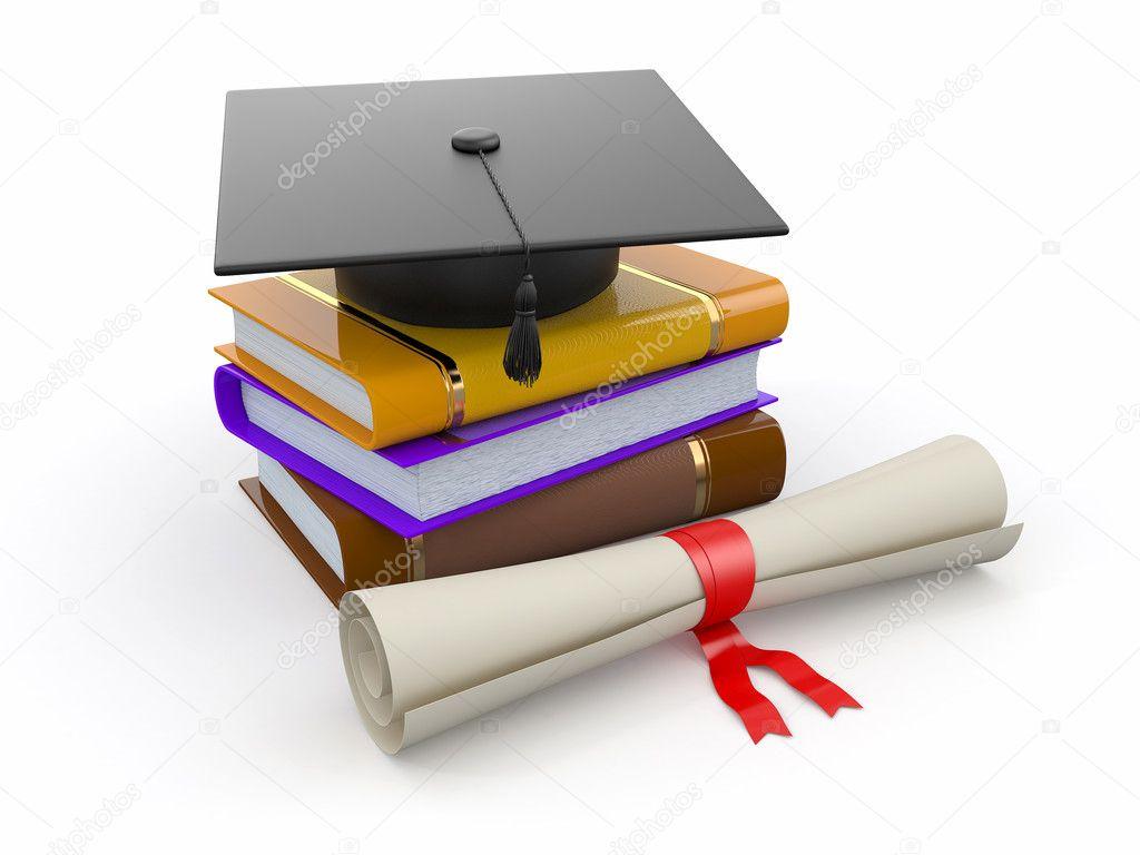 Abschluss Hut Diplom Und Bücher 3d Stockfoto Maxxyustas