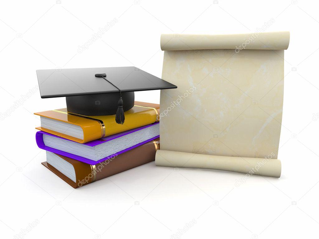 Abschluss Hut Diplom Und Bücher Platz Für Text Stockfoto