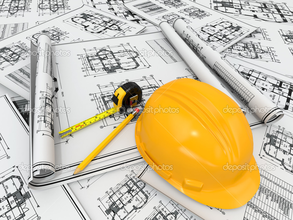 Construction concept hardhat blueprint and rulers stock photo construction concept hardhat blueprint and rulers 3d photo by maxxyustas malvernweather Image collections