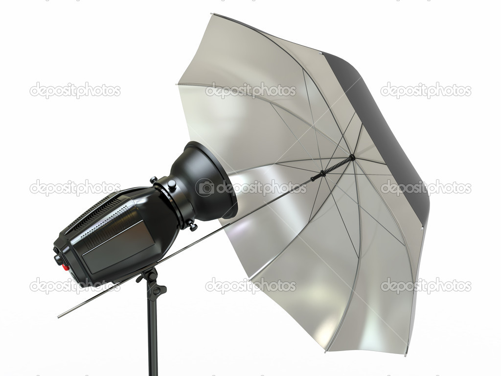 Apparecchiature di illuminazione studio. flash e ombrello u2014 foto