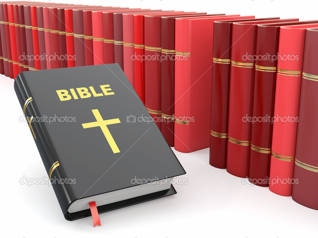 Holy Bible on background from others books. 3d stock vector
