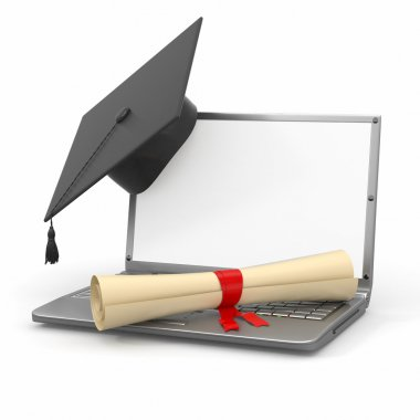 E-learning graduation. Laptop, diploma and mortar board