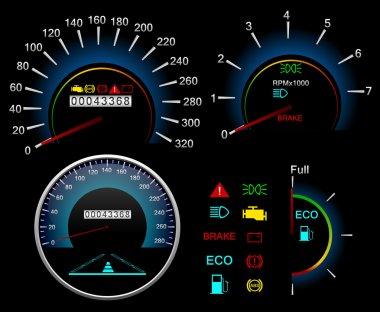 Dashboard Speedometer. Vector background