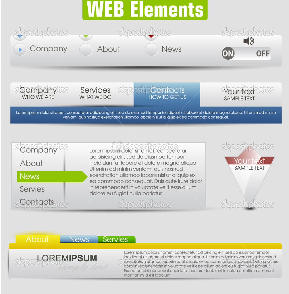 html menu bar templates free download - web design template elements with icons set navigation