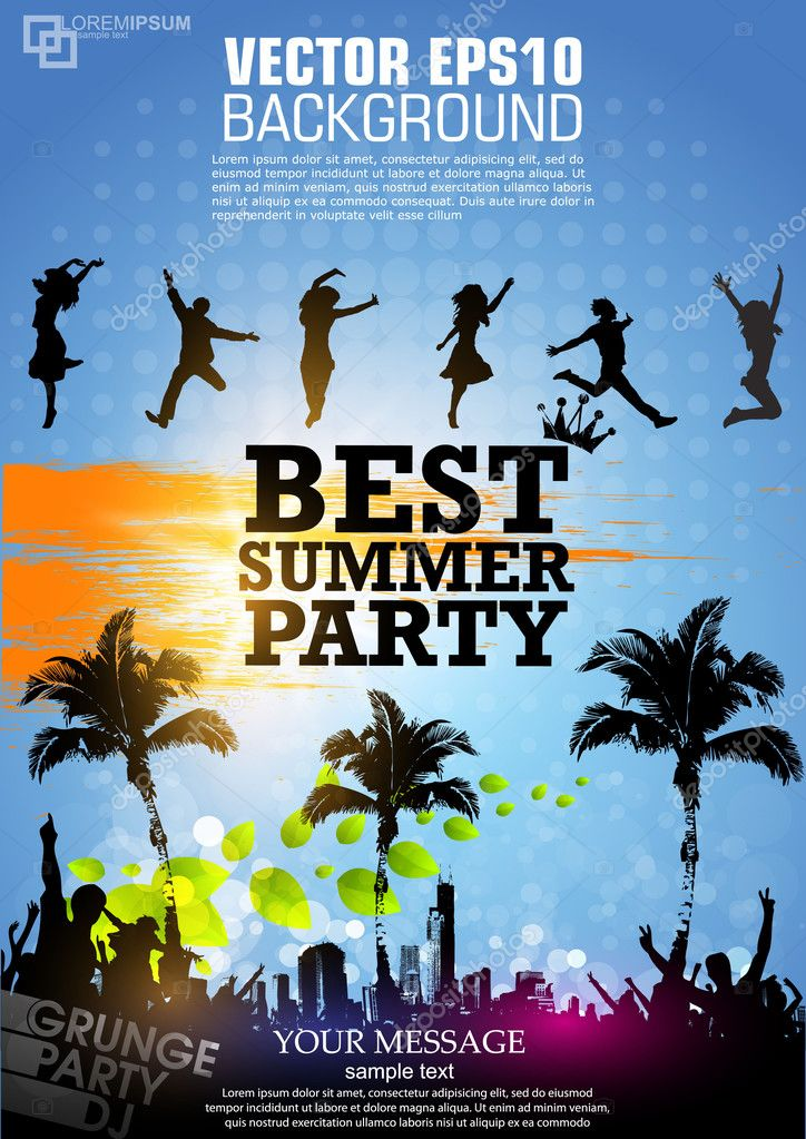 Colour grunge poster for summer party