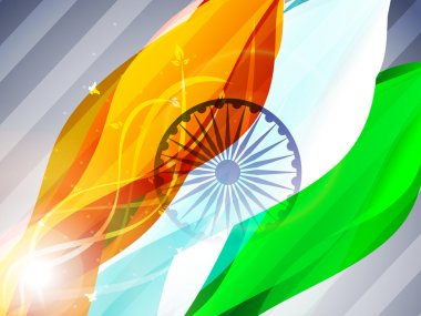 Indian flag waving on grey isolated background for Republic Day, Independence Day and other occasions. EPS 10.