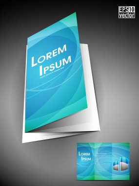 Professional business three fold flyer template, corporate brochure or cover design in blue color